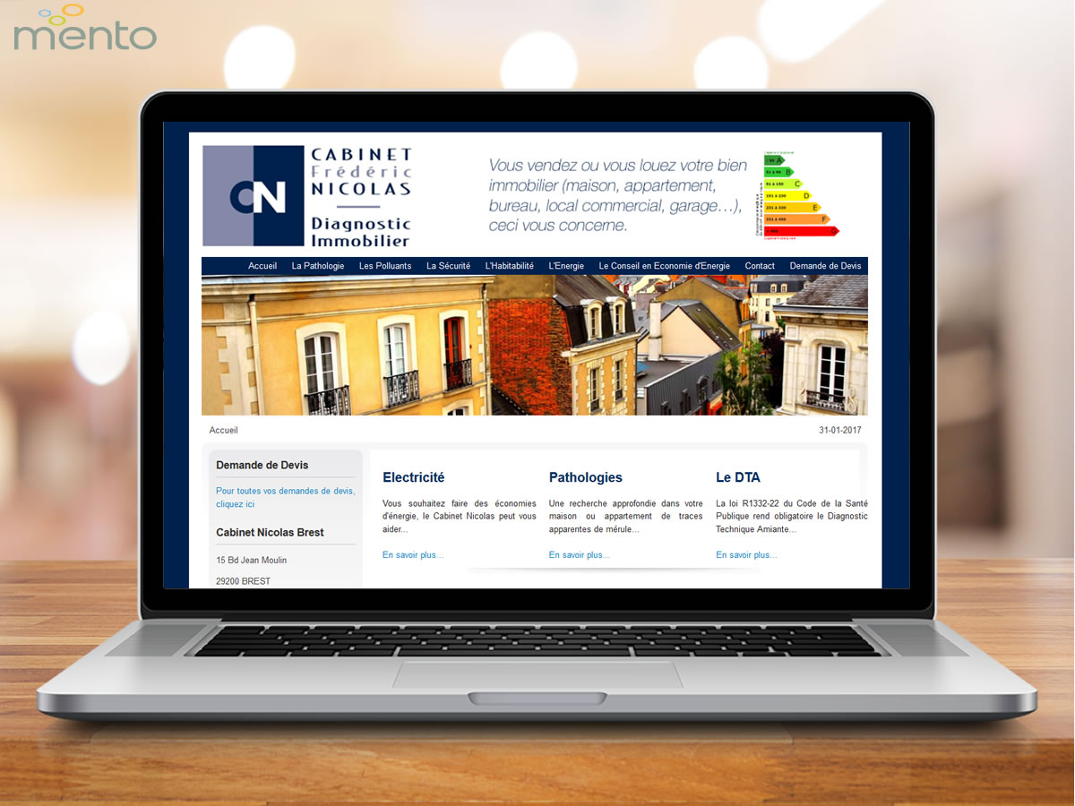 Creation site internet, Cabinet Nicolas Diagnostics Immobiliers Brest, finistere